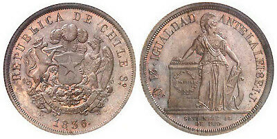 CHILE 1836 I.J Bronze 8 Escudos NGC MS64BN Glossy attractive surfaces