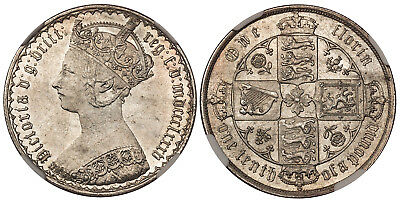 BRITAIN Victoria 1885 AR Gothic Florin, Two Shillings NGC MS64 KM 746.4
