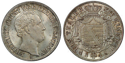 GERMAN ST. Saxony-Albertine Friedrich August II 1848 F AR Thaler PCGS MS65+