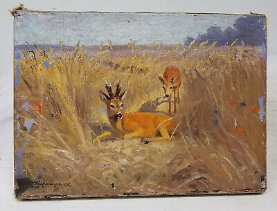 Antique Vintage Oil Painting on Canvas Deer Hunting Sporting Signed Illegibly