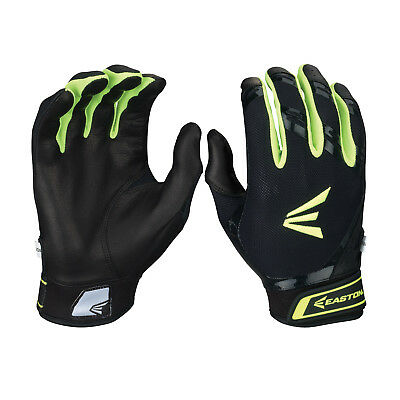 Easton HF7 Hyperskin Women's Fastpitch Batting Gloves - Black/Optic - Medium