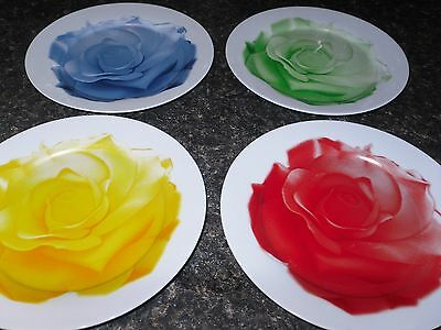 """ROSE Plates Dessert Salad 8"""" Set of 4 Display Only Kitchen Red Yellow Green Blue"""