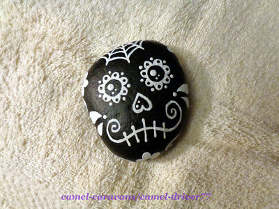OOAK Hand Painted Rock Art - Sugar Skull HALLOWEEN Day Of The Dead BLACK & WHITE
