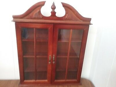 Beau Vintage Wood With Glass Doors Small Minatures Shelf Curio Cabinet Wall Mount