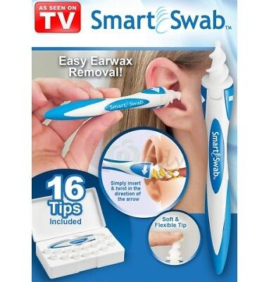 Smart Swab Ear Cleaner Easy Earwax Removal Spiral with 16 Soft Replacement Heads