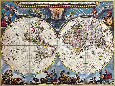 Map of the World Double Hemisphere 1662 A2+ High Quality Canvas Art Print