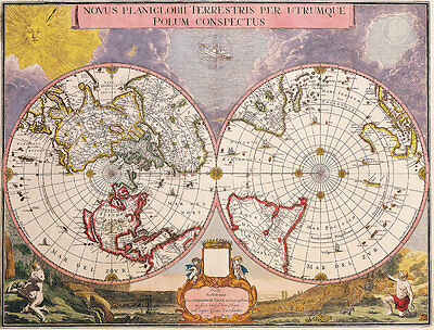 Double Hemisphere Vintage Polar Map 1695 A2+ High Quality Canvas Art Print