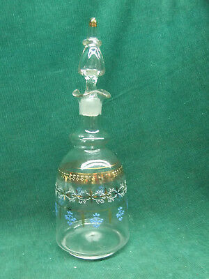 Antique Hand Blown hand painted decanter with ground glass stopper and pontil