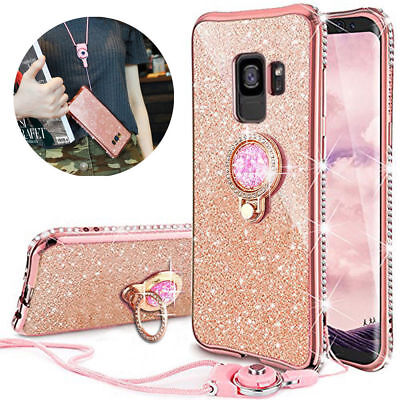 For Samsung Galaxy J6 S10 S10e Bling Glitter Cute TPU Phone Cover Case with Ring