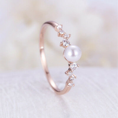 Gorgeous Rose Gold Filled Women's Wedding Rings Round Cut White Pearl Size 6-10