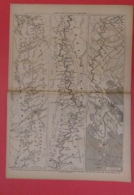 Frank Leslie's  5/10/1862 Surrender Fort Pulaski   Map Rebel Forts Miss. River