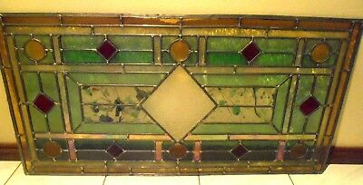 Handmade Transom Stained Glass Panel Leadlight Window- Diamonds & Pearls
