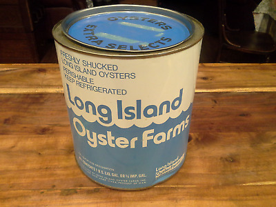 Vintage Long Island Oyster Gallon Tin Can In Very Good Condition-Ny 3