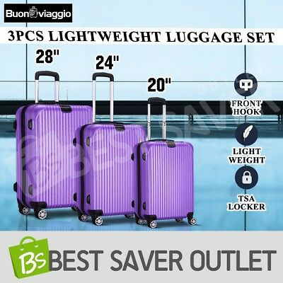3x Travel Trolley Lightweight Luggage Suitcase Set Expandable Spinner - Purple