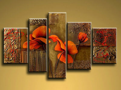 Large Modern Art Framed Canvas Flowers Abstract Oil Painting Wall Decor HF1008