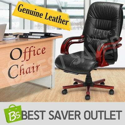 Executive Genuine Leather Office Computer Chair High Back Deluxe Work Seat Black