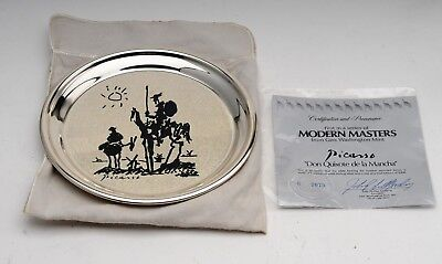 Sterling Silver Picasso Plate Don Quixote de la Mancha Geo. Washington Mint