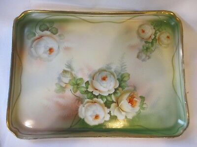 ANTIQUE ES Prussia Prov HAND PAINTED GILT Dresser Tray WITH ROSES