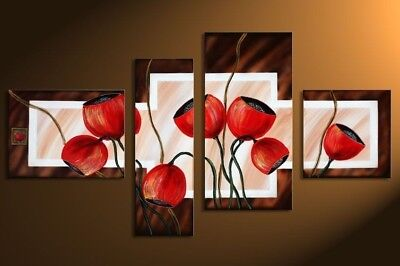 Large Modern Wall Art Flower Abstract Oil Painting on Canvas Framed Decor HF1062