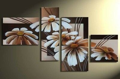 Large Modern Wall Art Flower Abstract Oil Painting on Canvas Framed Decor HF1085
