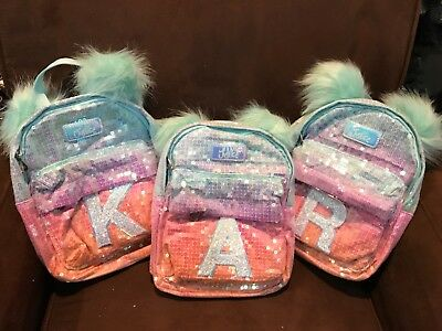 Justice Mini Backpack Sequin Ombré Glitter Initial(A,c,k,m,r,s)Pom Pom Sea Foam