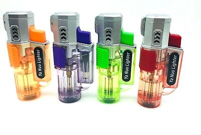 Cool Quad Torch Jet Flame Refillable Butane Cigar Cigarette Lighter Windproof
