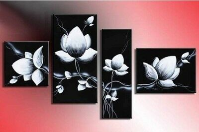 Framed 4 Panels Black and White Wall Art Flower Abstract Oil Painting on Canvas