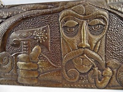 Rare Antique Russian Avant Garde Art Deco relief handcarved copper wood Yvan