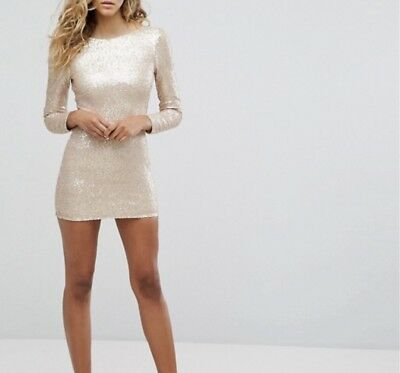 5fb4722f20a7 CLUB L LONG Sleeve Plunge Back All Over Sequin Mini dress - uk 10 ...