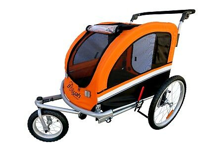 MB Booyah Large Pet Dog stroller and Bike Bicycle Trailer with Suspension Orange