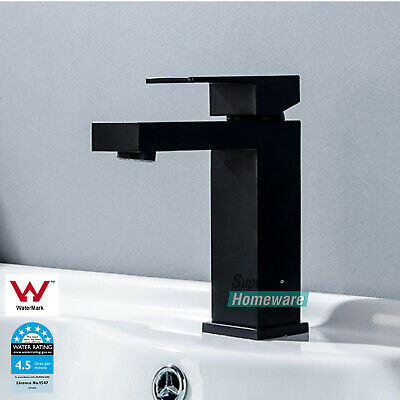 Bathroom basin vanity Flick Hand Mixer tap Matt black Square brass Faucet WELS