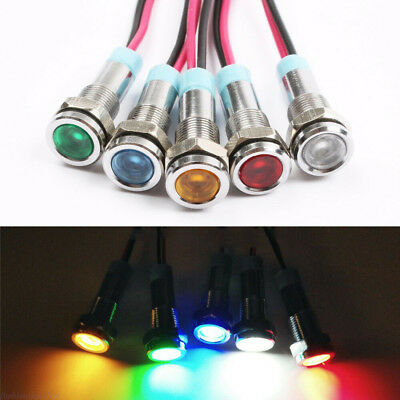 1/2PCS LED Metal Indicator 6mm Signal Warning Lamp Bulb With Wire Waterproof
