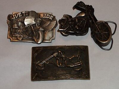 Vintage Belt Buckles Motorcycles 3 Lot Choppers Live To Ride