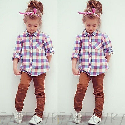 AU Stock Baby Kids Girls Checked Tops Long Sleeve Shirts Cotton T-shirt Blouse