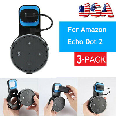3Pack Outlet Wall Mount Hanger Holder Stand Bracket w Cable For Amazon Echo Dot2