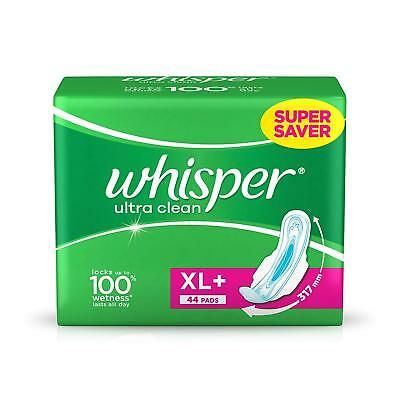 Whisper Ultra Clean Sanitary Pads XL Plus (44 Count) | Free Shipping