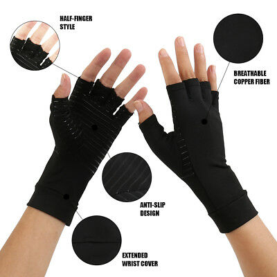Anti ARTHRITIS Therapy Compression Gloves Finger-less COPPER Rheumatoid Hands