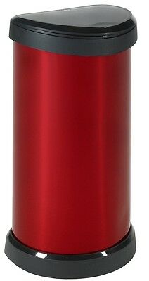 Red Kitchen Bin 40 Litre One Touch Deco Metal Effect Silver No rust easy clean