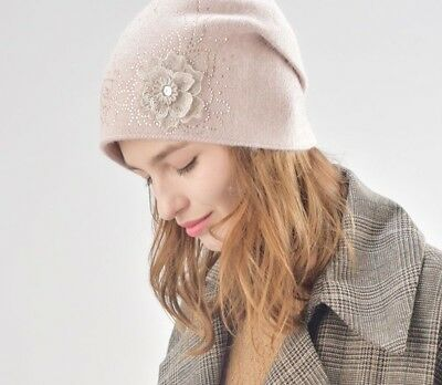Wool Cashmere Winter Hat For Ladies Double Lining Warm Knit Beanies Skullies New