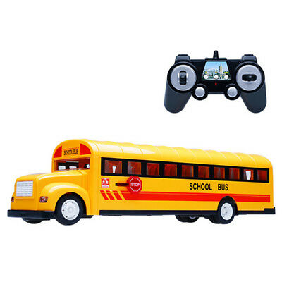 RC Modern Large School Bus Model Toy Car 2.4G Remote Control LED Light & Music