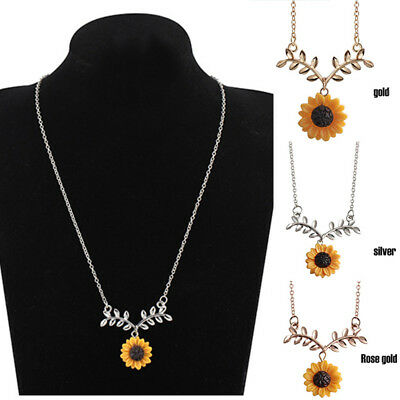 Charm Pendant Clavicle Sunflower Necklace Branch Women Jewelry Accessories Gift