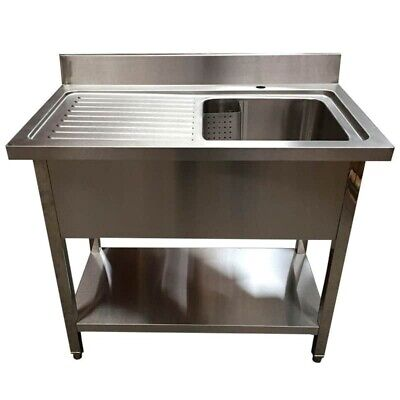1200mm x 600mm New Commercial Single Bowl Kitchen Sink 304 Stainless Steel LHD