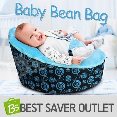 Portable Baby Toddler Bean Bag Kids Seat Pod Resting Feeding Bouncer Chair Blue