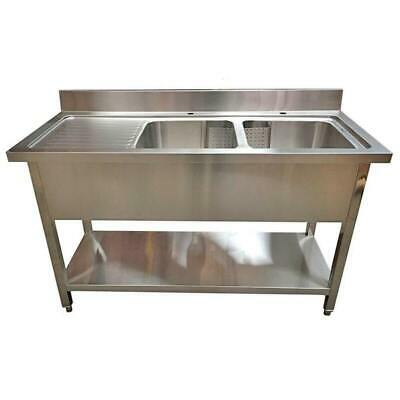 1400mm x 600mm New Commercial Twin Bowl Kitchen Sink 304 Stainless Steel LHD
