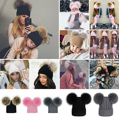 Women Mom Baby Boy Girls Winter Warm Double Fur Pom Bobble Knit Beanie Hat Cap