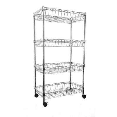 84x45x25cm Real Chrome Wire Rack Metal Steel Kitchen Shelving Racks Casters DCUK