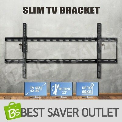 "Fashion 42-80"" LCD LED Plasma TV Bracket Flat Slim Tilt Wall Mount Up to 60kg"