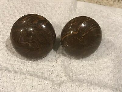 Merveilleux Antique Brown Marble Swirl/Tiger Eye Porcelain/Glazed Door Knobs Set Of 2