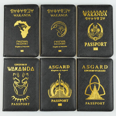 Wakanda Asgard Passport Cover Holder PU RFID Black Panther Travel Card Case
