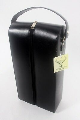 NEW Beautiful buffalo Leather Wine carrier velour lined rrp $115